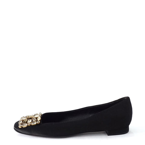 Louis Vuitton Black Crystal Beaded Flats 37