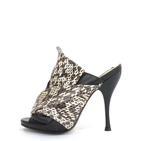 Numero Ventuno Black and Python Leather Bow Mules 37