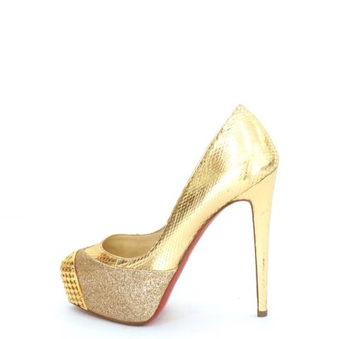 24cb925380e Christian Louboutin Gold Pump Shoes 35.5 – The Brand Buffet