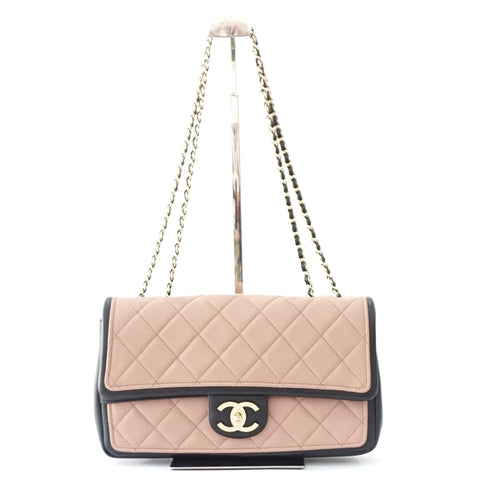 Chanel Brand New Bicolor Black Dusty Pink Flapbag