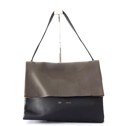 Celine All Soft Taupe Black Camel Suede Shoulder Bag