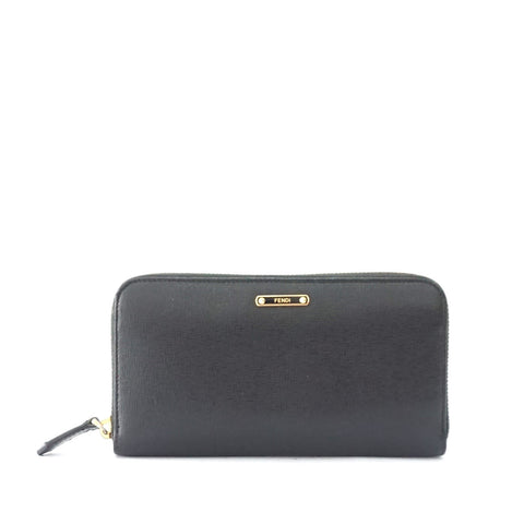 Fendi Black Zipper Long Wallet