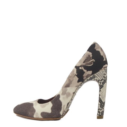 Dries Van Noten Grey Printed Pumps 38