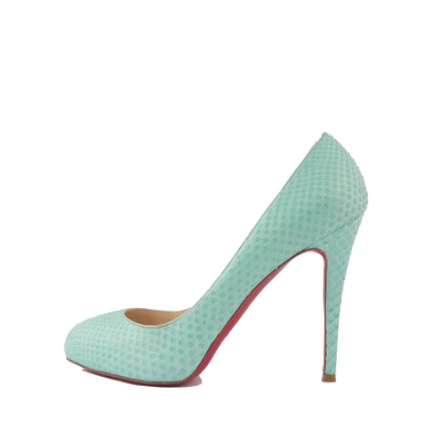 Christian Louboutin Mint Green Python Pumps 39