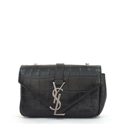 YSL Black Leather Croco Stamp Bo Monogramme Baby Chain Bag