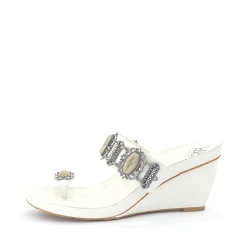 BCBG White Wedge Sandals 9M