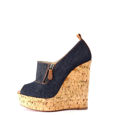 the latest d4a99 acab9 Christian Louboutin Denim Peeptoe Wedge Pumps 37