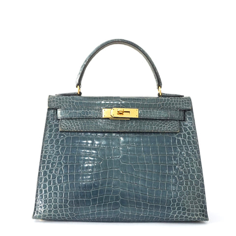 Hermes Kelly 28 Croco Vintage in Blue Jeans Sellier GHW Stamp Z PRICE BY REQUEST