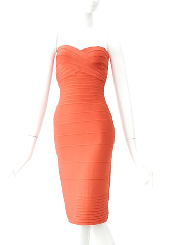 Herve Leger Coral Wrapped Dress XS