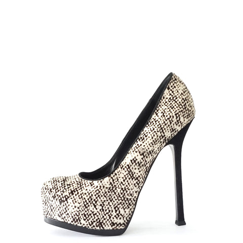 YSL Black White Pony Hair Tribtoo Pumps 38.5