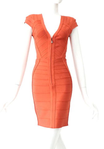 Herve Leger Coral Bandage Dress XS