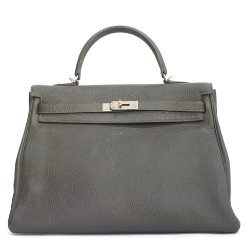 Hermes Kelly 35 Retourne Graphite Clemence PHW PRICE BY REQUEST