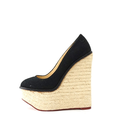 Charlotte Olympia Black Espadrille Wedge Pumps 37