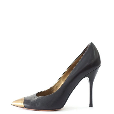 YSL Black Gold Pointy Pumps 38.5