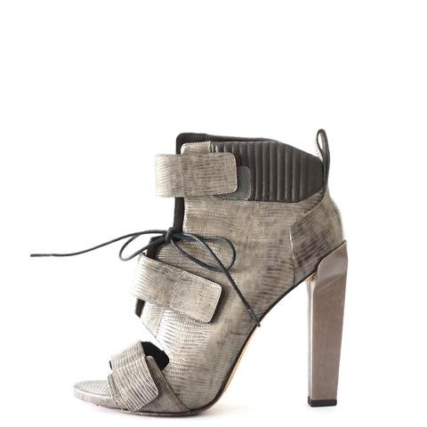 Alexander Wang Grey Lizard Wrap Ankle Booties 39