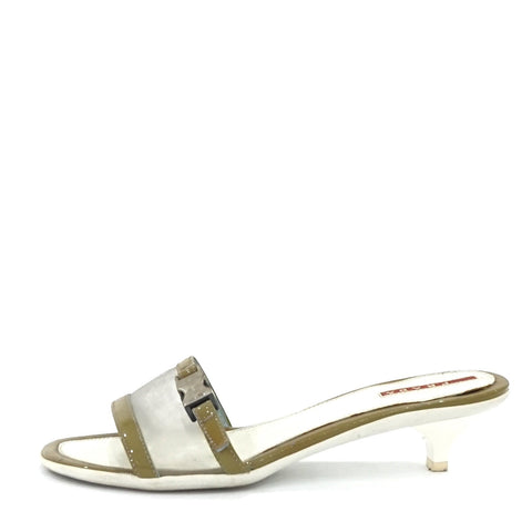 Prada White Kitten Sandals 38.5