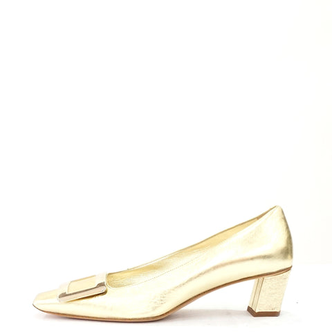 Roger Vivier Metallic Gold Belle Buckle Pumps 36