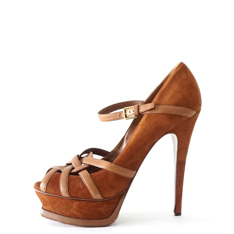 YSL Brown Suede Peeptoe Maryjane Platform Pumps 38.5