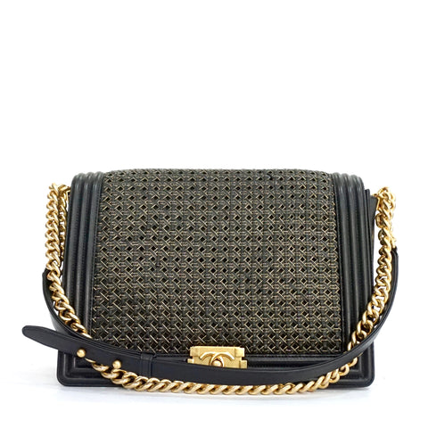 Chanel Black Medium Boy Gold Trimmed Woven Flapbag