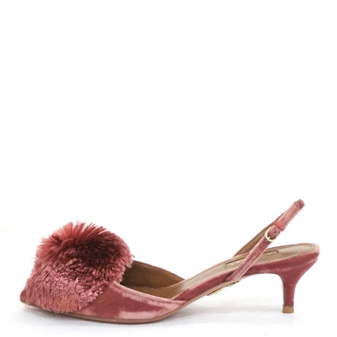 Aquazzura Antique Rose Velvet Powder Puff Sling Shoes 37