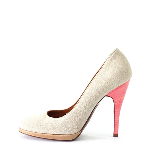 Lanvin Grey Toile Pumps 37