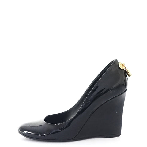 Louis Vuitton Black Patent Wedges 36.5
