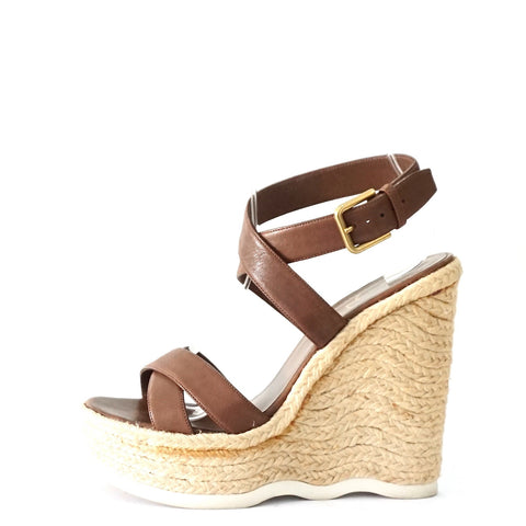 YSL Brown Wedge Sandals 37.5