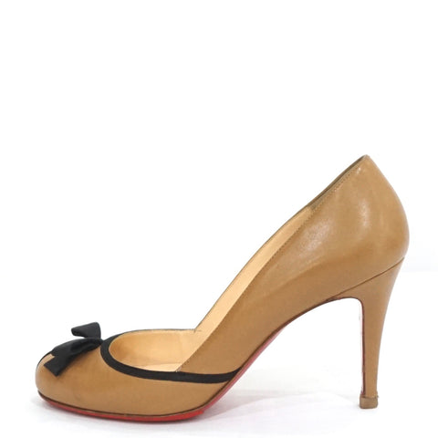 Christian Louboutin Beige Black with Bow Pumps 37