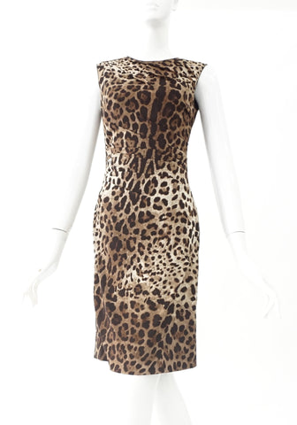 Dolce and Gabbana Leopard Silk Dress Size 38