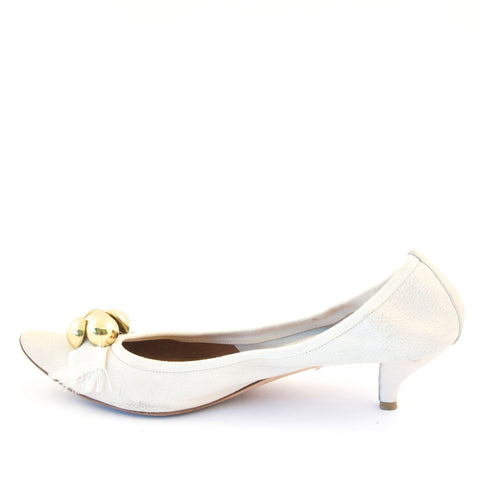 Chloe White Kitten Shoes 39.5