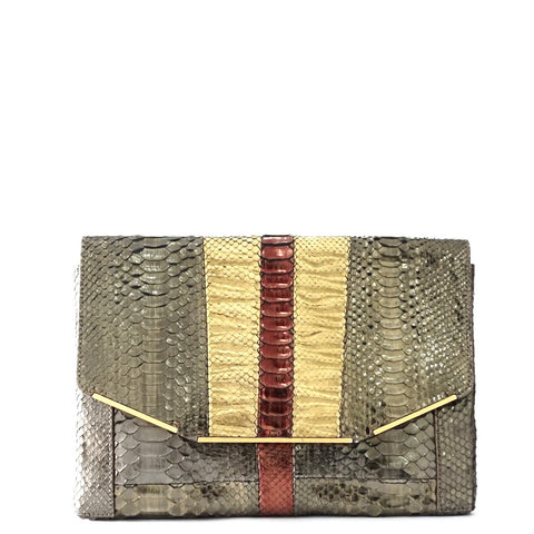 Lanvin Bronze Gold Python Embossed Clutch