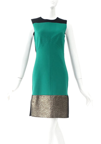 DVF Green - Black - Gold Dress Size 2