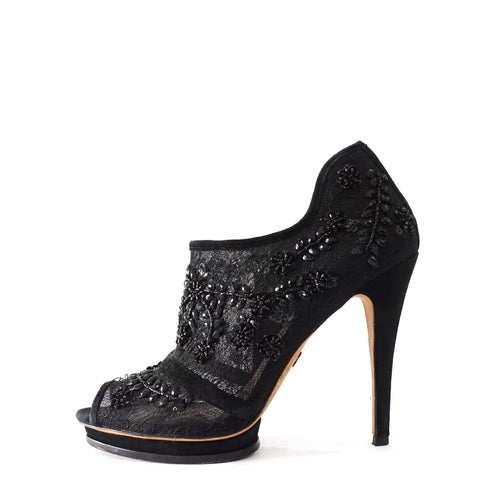 BCBG Max Azria Lace Beaded Booties 37.5