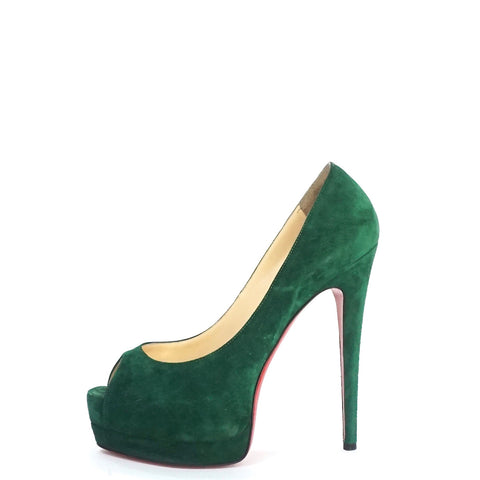 Christian Louboutin Green Suede Peep-toe Pumps 37.5