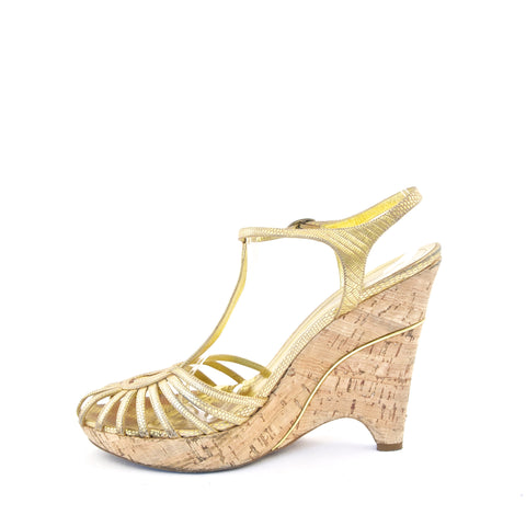 BCBG Maxazria Gold Wedge Sandals 39