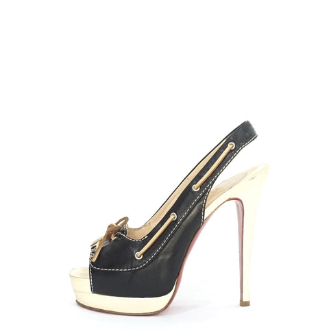 Christian Louboutin Black and White Sandals 37