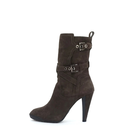 Tods Brown Suede Heeled Boots with Buckels 38