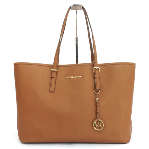 Michael Kors Brown Saffiano Jet Set Tote Bag