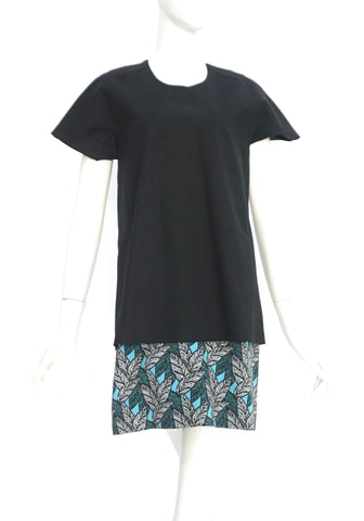 Bimba Y Lola Black Dress with Print Details S