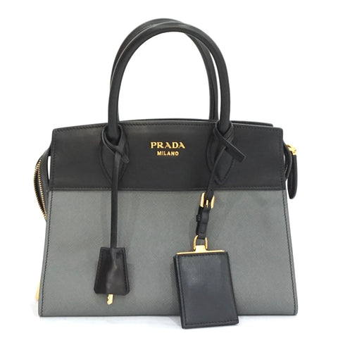 Prada Gray and Black Saffiano City C Bag