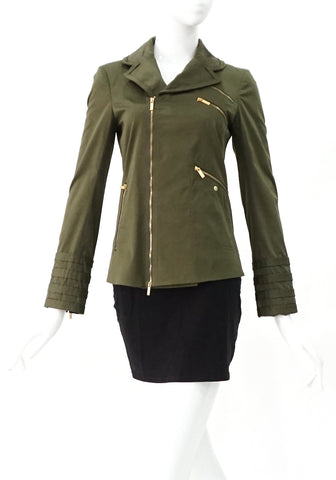 Z Spoke Zac Posen Dark Green Jacket with Gold Zipper 0