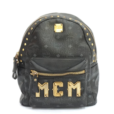 MCM Black Medium Stark Studded Backpack