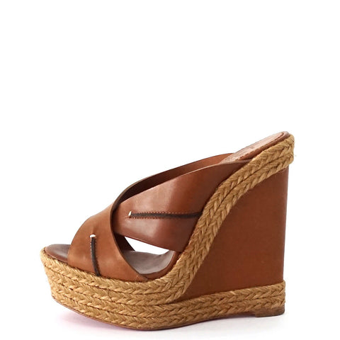 Christian Louboutin Brown Wedge Sandals 35