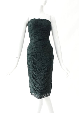 Dolce and Gabbana Green Lace Tube Cocktail Dress 38