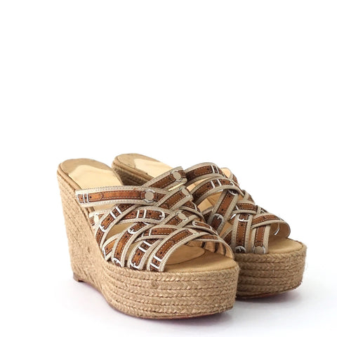 new arrival dcd33 63495 Christian Louboutin Espadrille Wedge Sandals 36