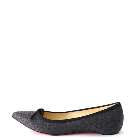 Christian Louboutin Grey Flanel Pointy Flats Shoes 38,5