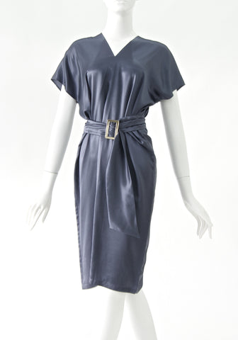 Max Mara Belted Gray Satin Cocktail Dress (size S/34)