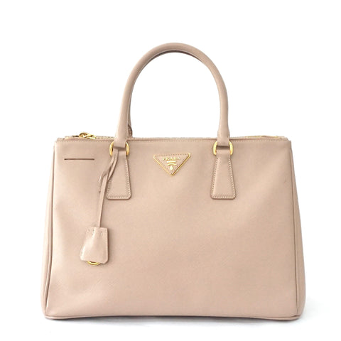 Prada Blush Saffiano Double Zipper Tote Bag