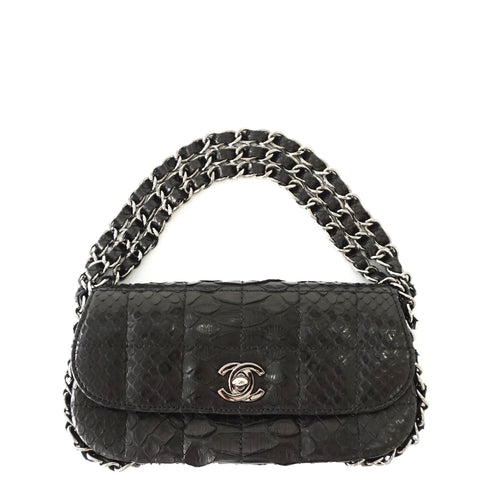 Chanel Mini Black Python Flapbag
