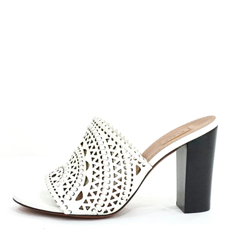 Alaia White Laser Cut Heeled Sandals 38
